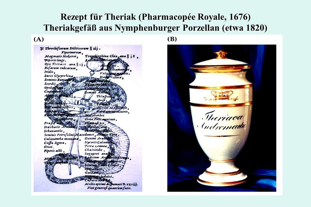 Rezept für Theriak (Pharmacopée Royale, 1676) Theriakgefäß aus Nymphenburger Porzellan (etwa 1820)