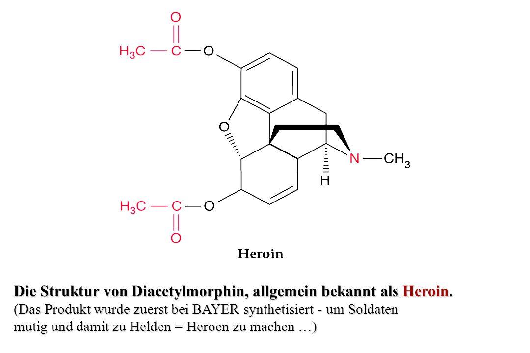 Die Struktur von Diacetylmorphin, allgemein bekannt als Heroin.