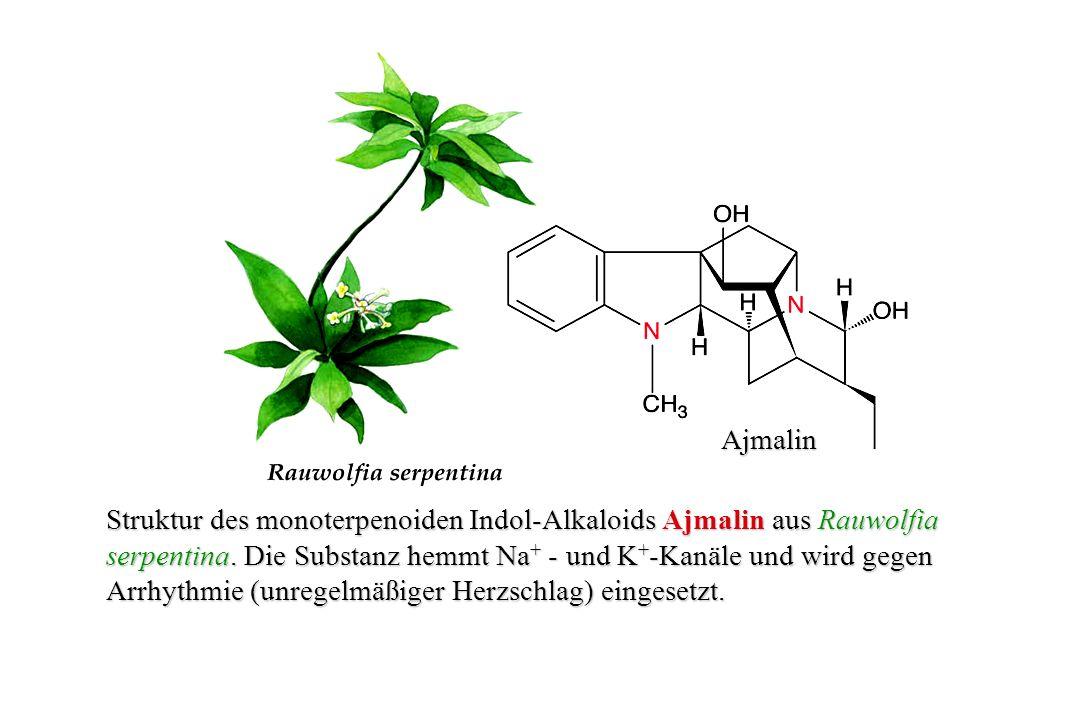 Ajmalin Struktur des monoterpenoiden Indol-Alkaloids Ajmalin aus Rauwolfia. serpentina. Die Substanz hemmt Na+ - und K+-Kanäle und wird gegen.