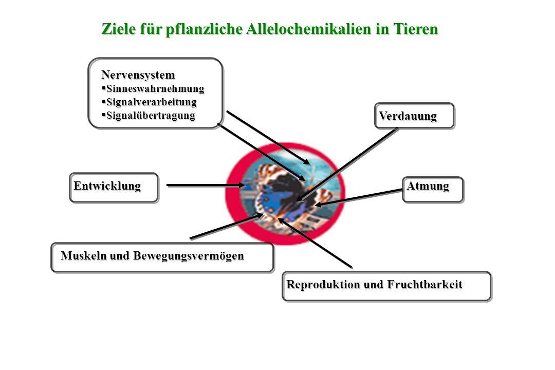 Ziele für pflanzliche Allelochemikalien in Tieren