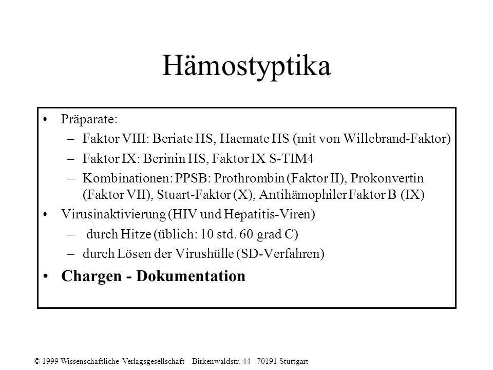 Hämostyptika Chargen - Dokumentation Präparate: