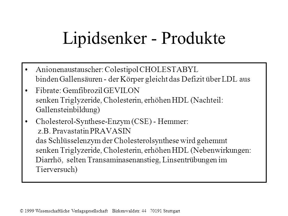 Lipidsenker - Produkte