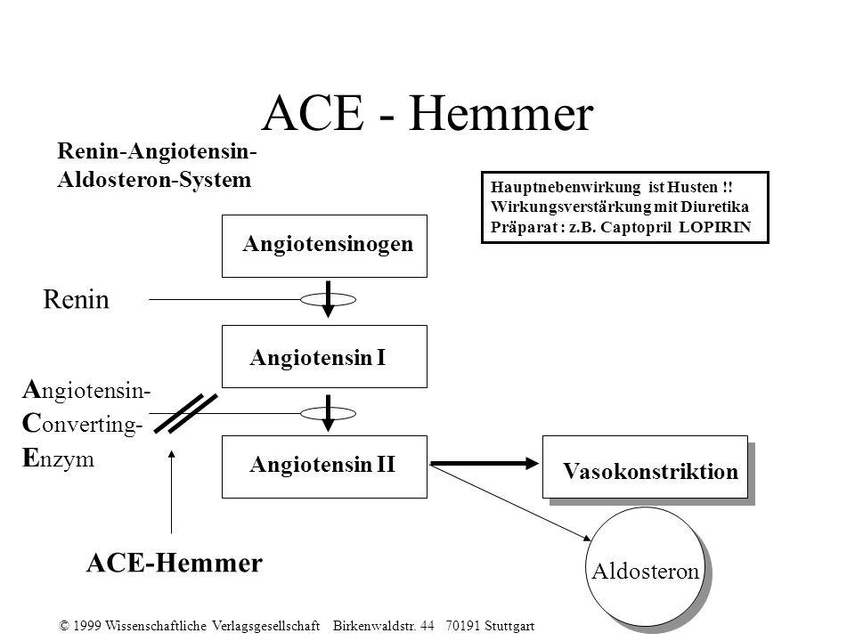 ACE - Hemmer Renin Angiotensin- Converting- Enzym ACE-Hemmer