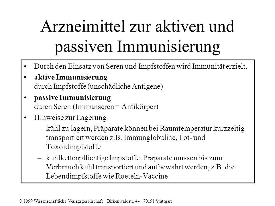 Arzneimittel zur aktiven und passiven Immunisierung