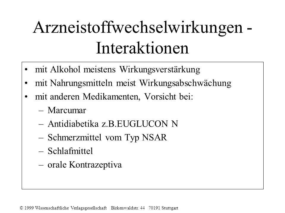 Arzneistoffwechselwirkungen - Interaktionen