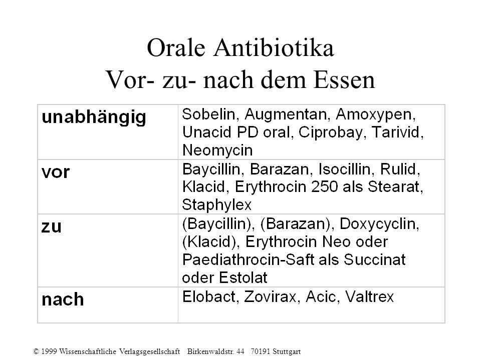 Orale Antibiotika Vor- zu- nach dem Essen