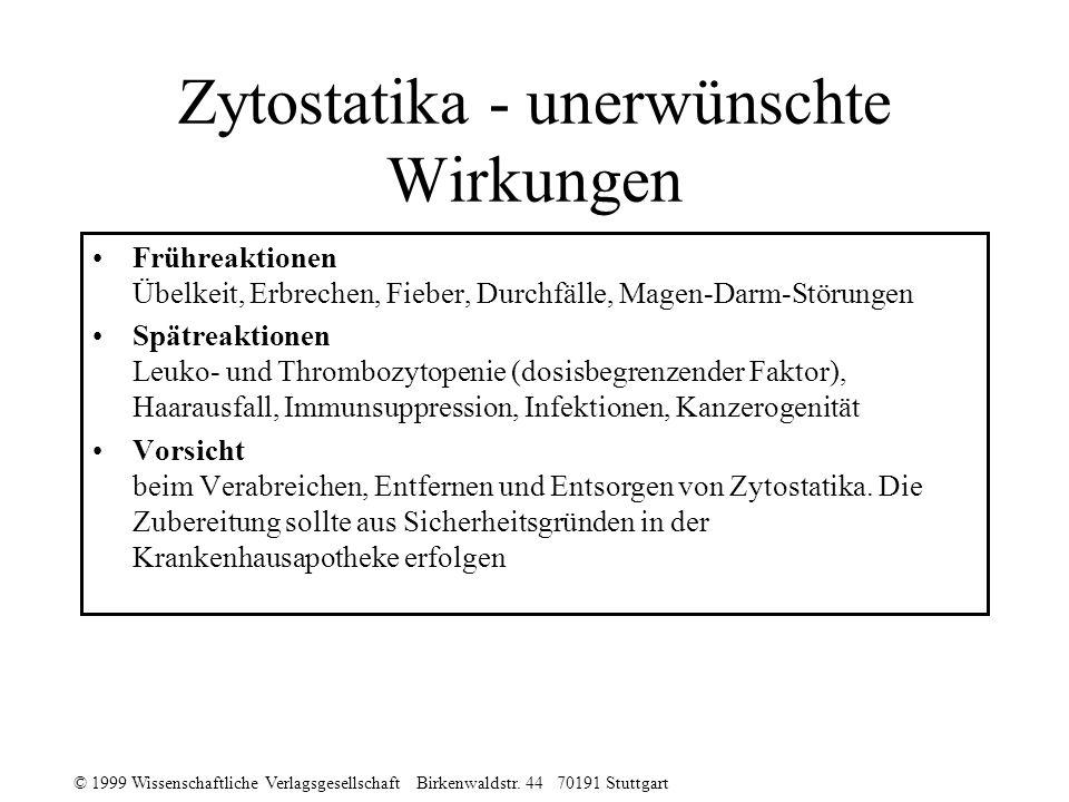 Zytostatika - unerwünschte Wirkungen