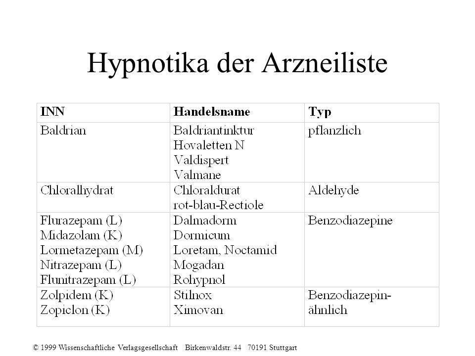 Hypnotika der Arzneiliste