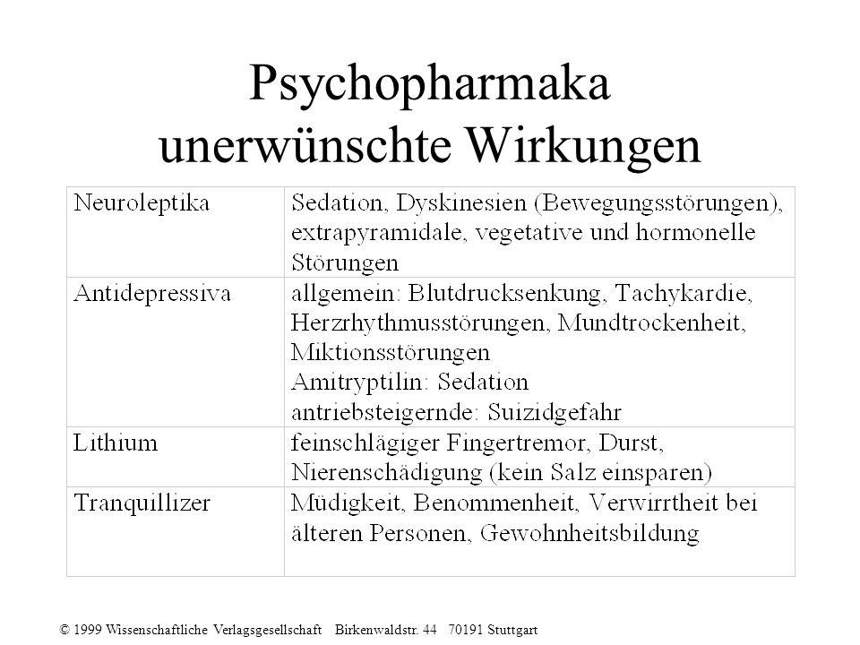 Psychopharmaka unerwünschte Wirkungen