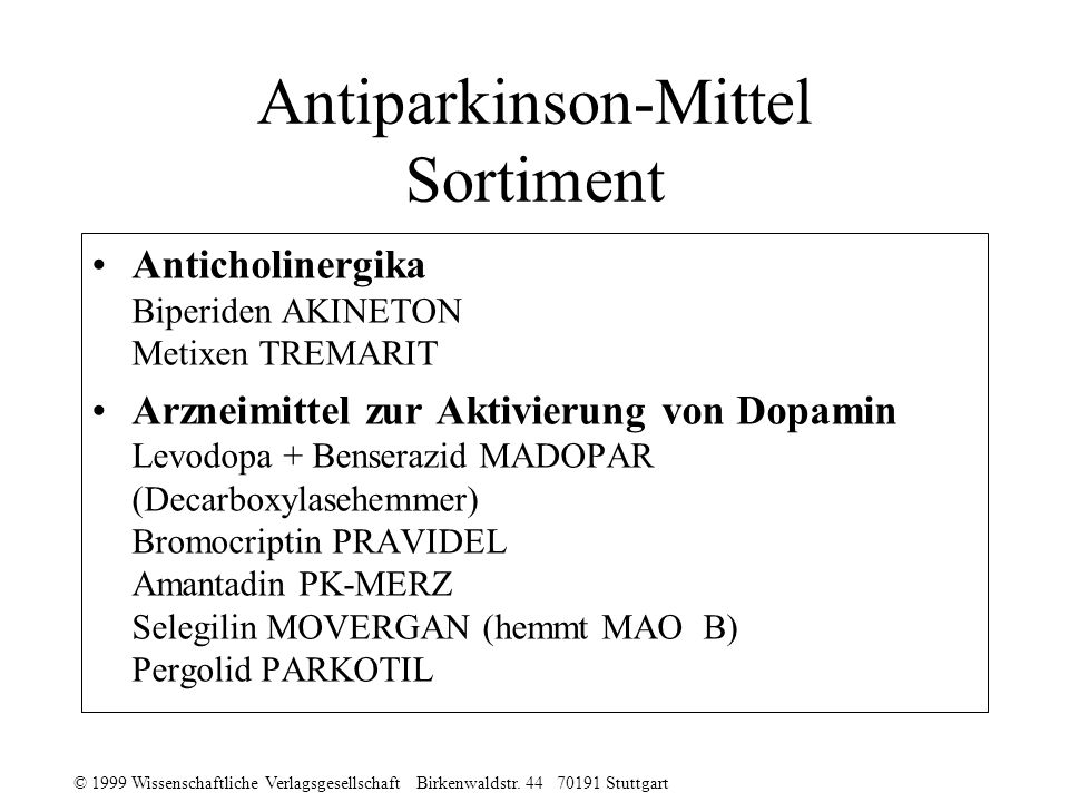 Antiparkinson-Mittel Sortiment