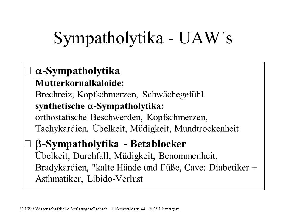 Sympatholytika - UAW´s