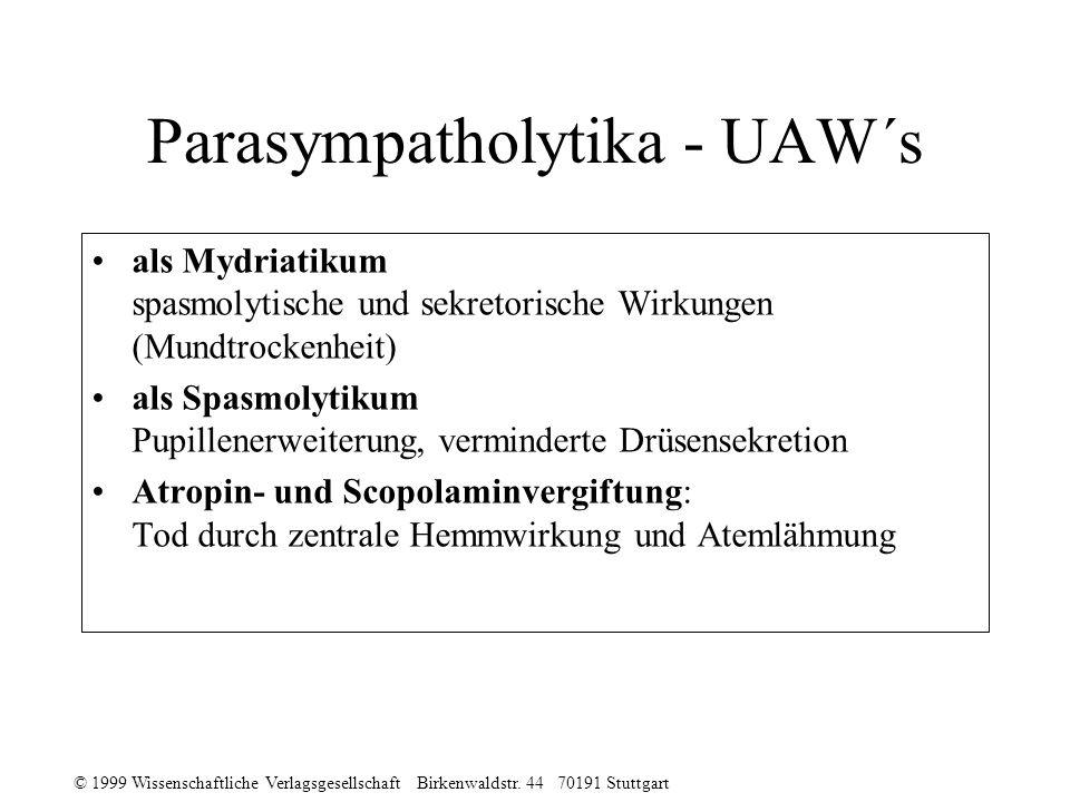 Parasympatholytika - UAW´s