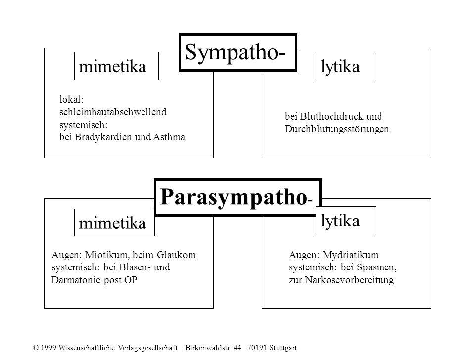 Sympatho- Parasympatho- mimetika lytika mimetika lytika lokal: