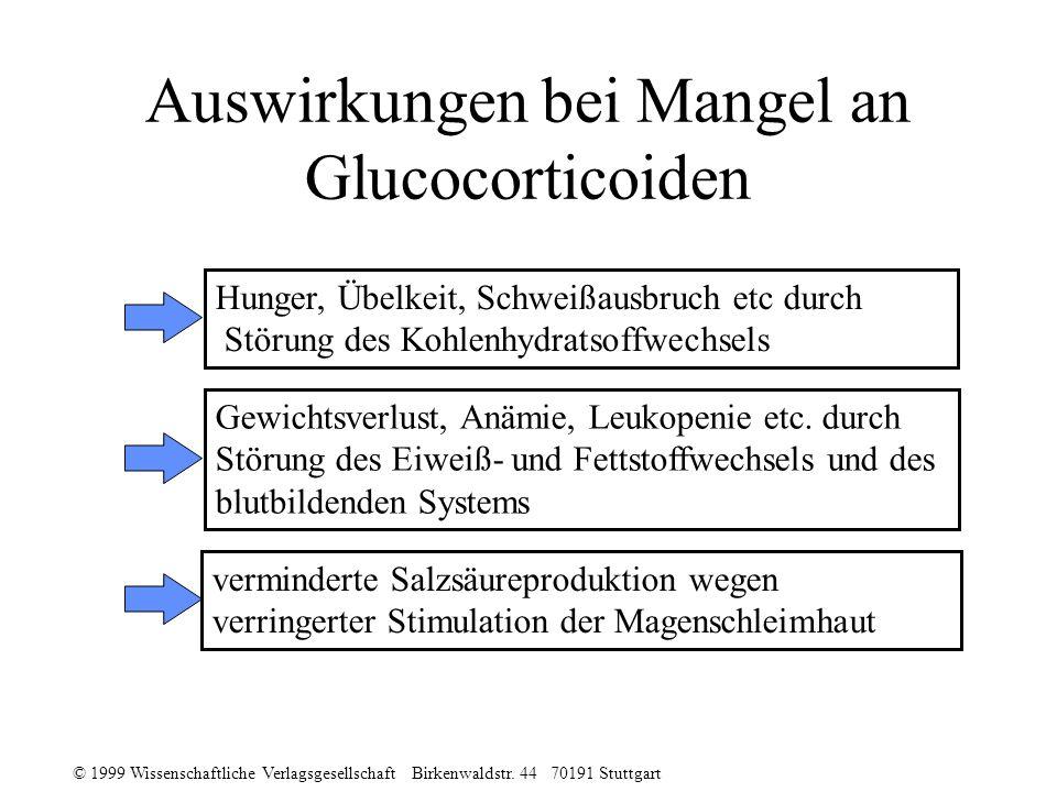 Auswirkungen bei Mangel an Glucocorticoiden
