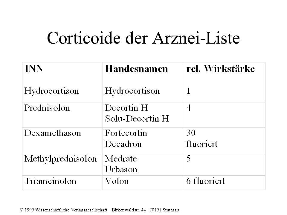 Corticoide der Arznei-Liste