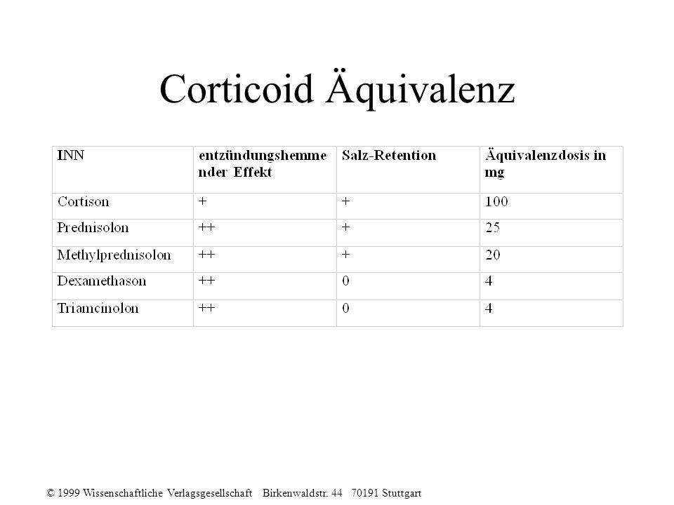 Corticoid Äquivalenz © 1999 Wissenschaftliche Verlagsgesellschaft Birkenwaldstr.
