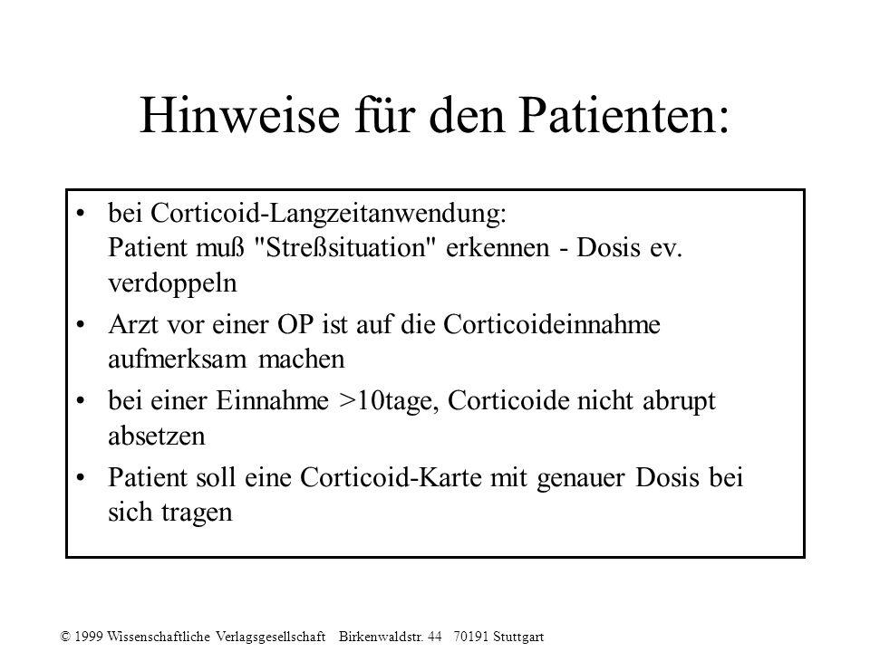 Hinweise für den Patienten: