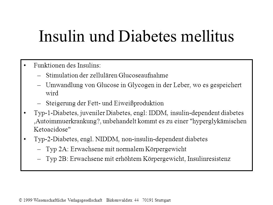 Insulin und Diabetes mellitus