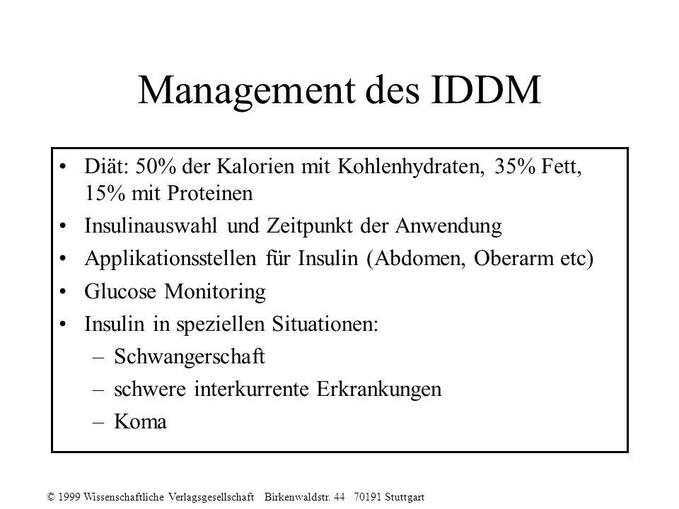 Management des IDDM Diät: 50% der Kalorien mit Kohlenhydraten, 35% Fett, 15% mit Proteinen. Insulinauswahl und Zeitpunkt der Anwendung.
