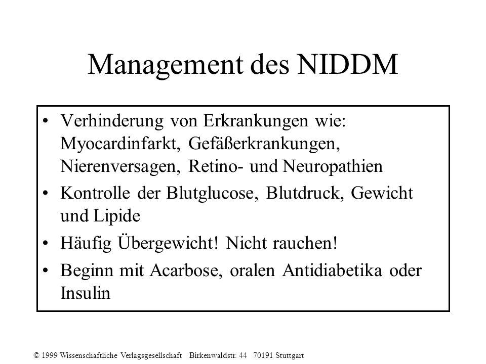 Management des NIDDM Verhinderung von Erkrankungen wie: Myocardinfarkt, Gefäßerkrankungen, Nierenversagen, Retino- und Neuropathien.