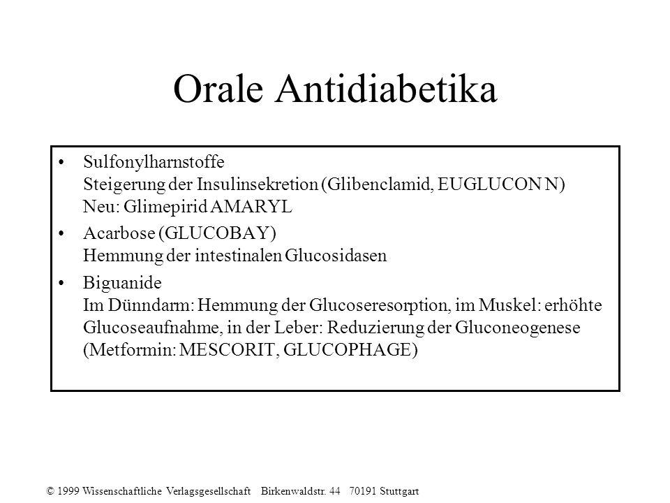 Orale Antidiabetika Sulfonylharnstoffe Steigerung der Insulinsekretion (Glibenclamid, EUGLUCON N) Neu: Glimepirid AMARYL.