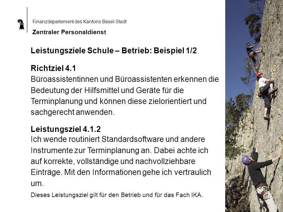 Leistungsziele Schule – Betrieb: Beispiel 1/2 Richtziel 4.1