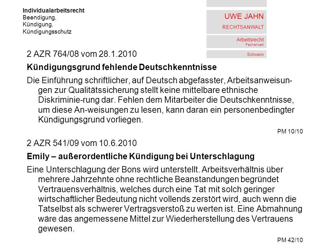 Kündigungsgrund fehlende Deutschkenntnisse