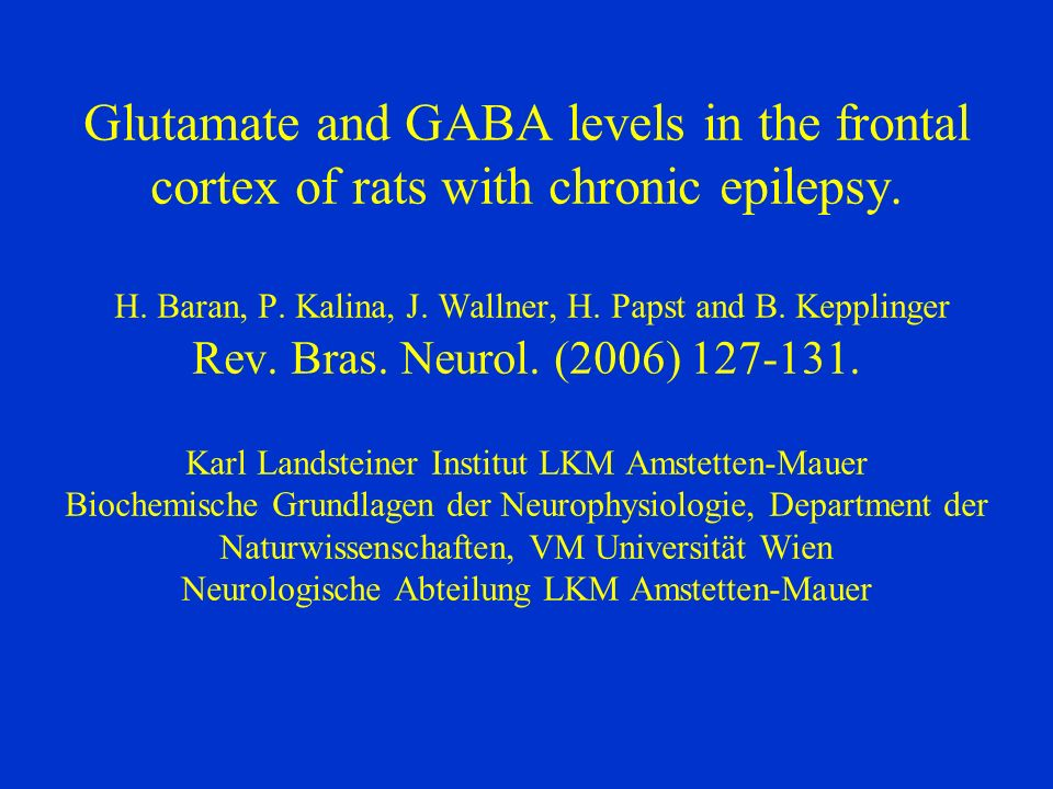 Glutamate and GABA levels in the frontal cortex of rats with chronic epilepsy.