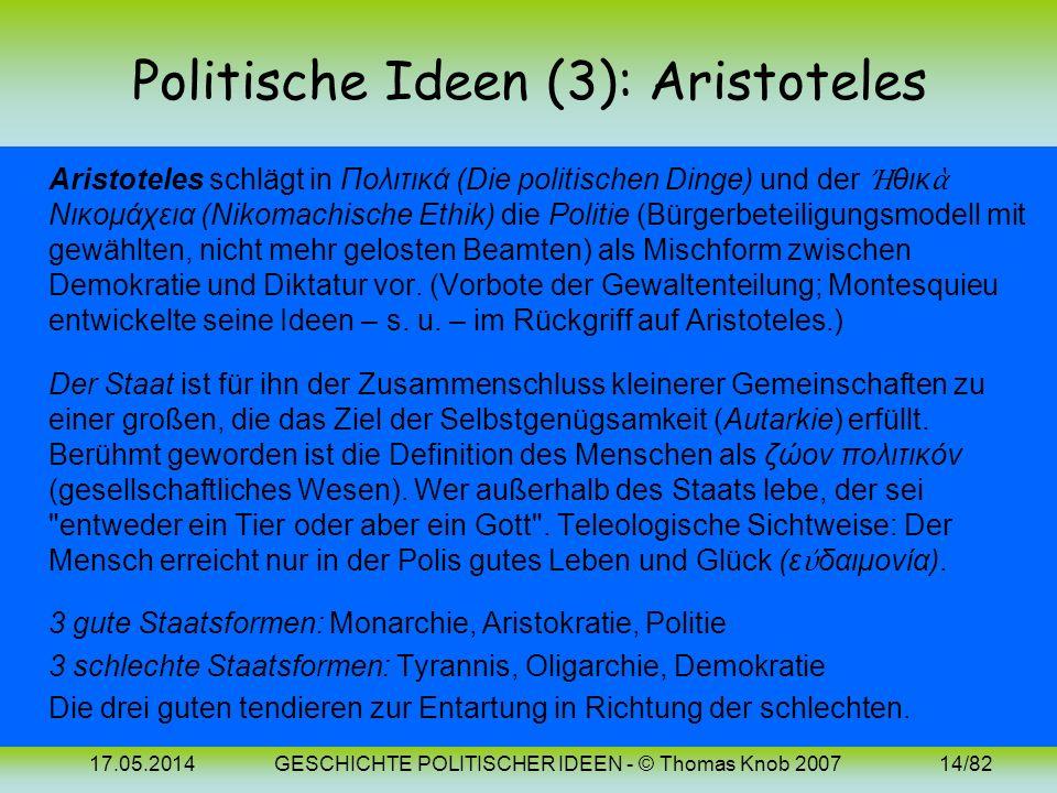 Politische Ideen (3): Aristoteles