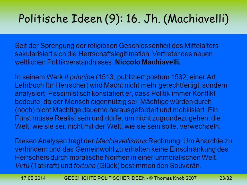 Politische Ideen (9): 16. Jh. (Machiavelli)