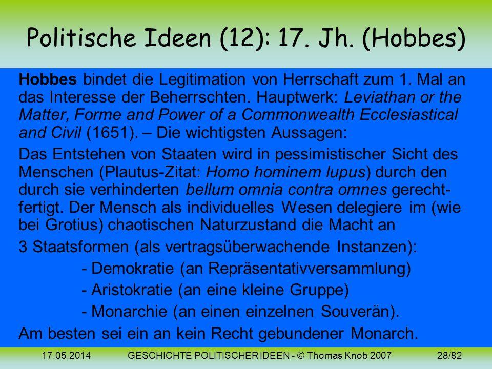 Politische Ideen (12): 17. Jh. (Hobbes)
