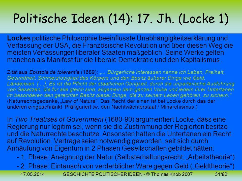 Politische Ideen (14): 17. Jh. (Locke 1)