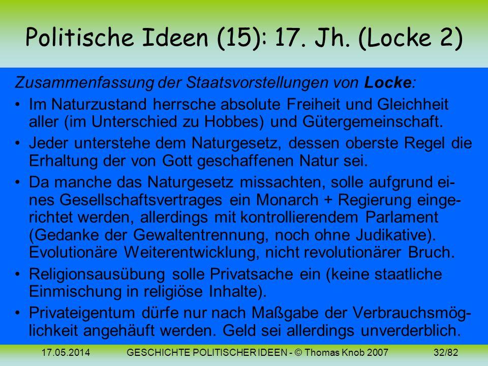 Politische Ideen (15): 17. Jh. (Locke 2)