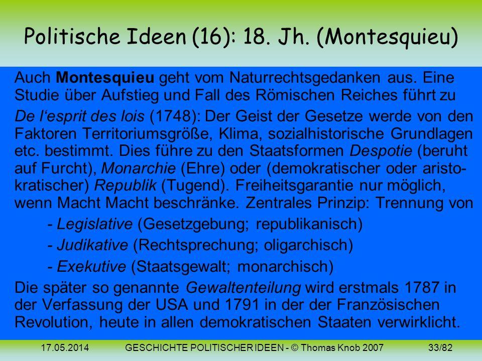 Politische Ideen (16): 18. Jh. (Montesquieu)
