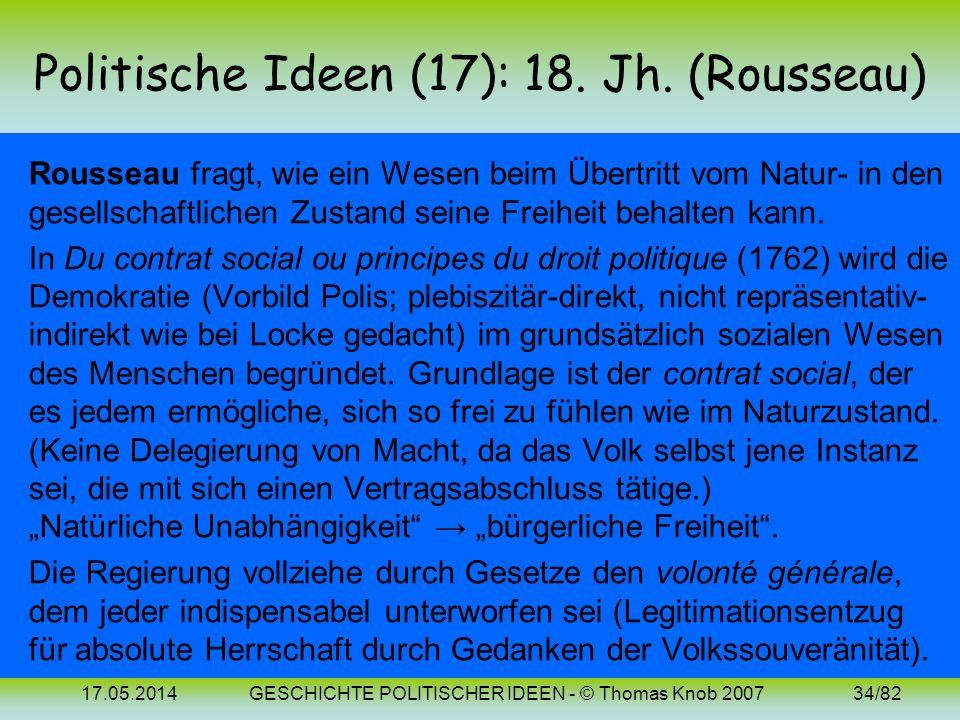 Politische Ideen (17): 18. Jh. (Rousseau)