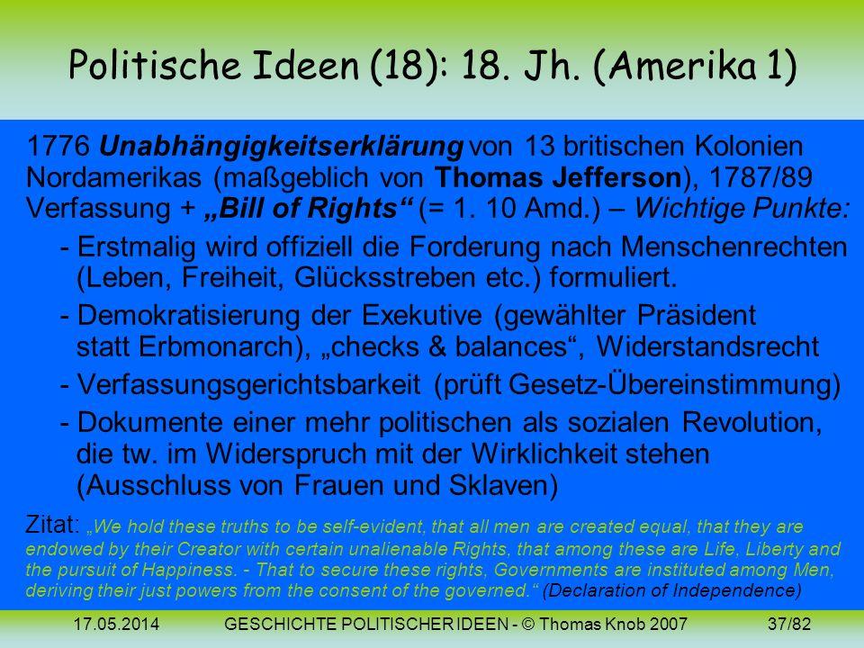 Politische Ideen (18): 18. Jh. (Amerika 1)