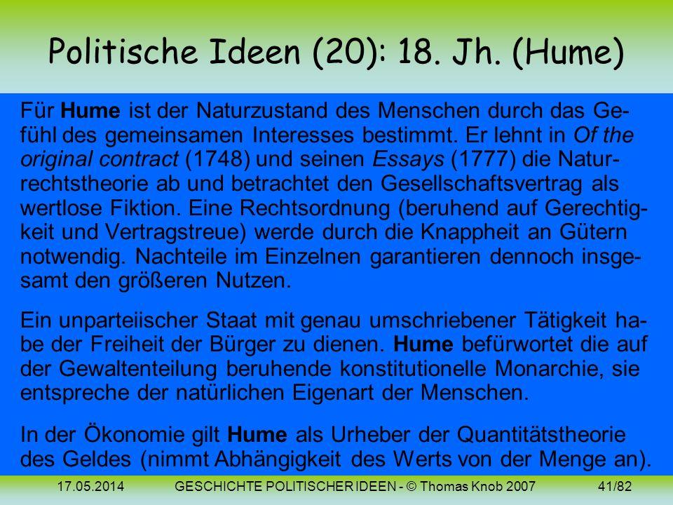 Politische Ideen (20): 18. Jh. (Hume)