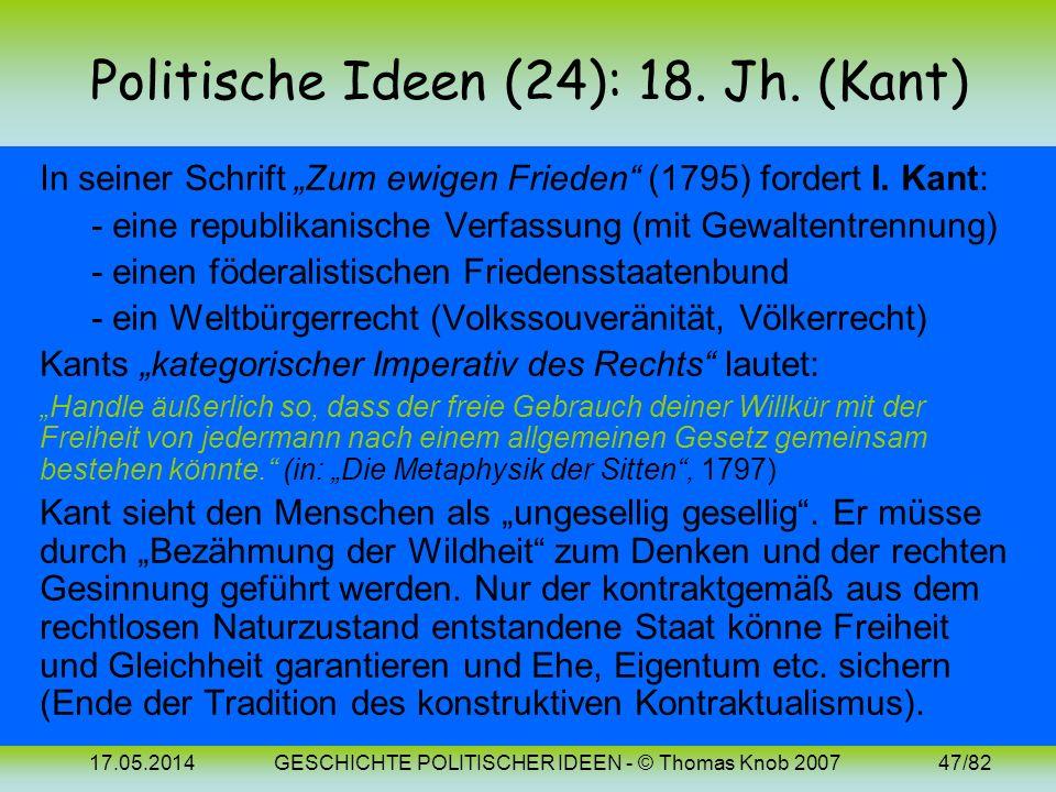 Politische Ideen (24): 18. Jh. (Kant)