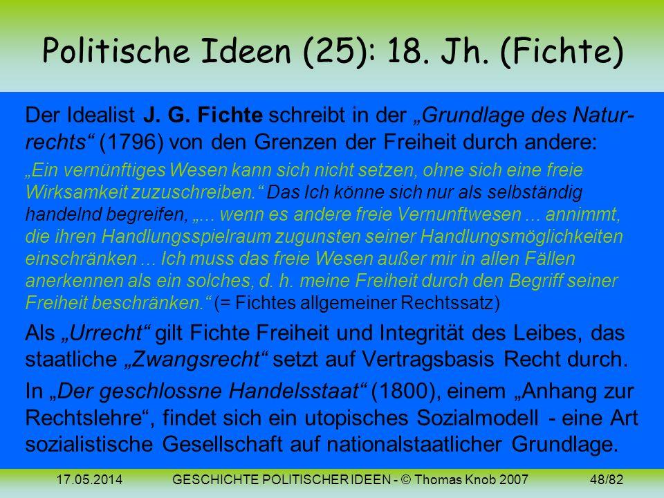 Politische Ideen (25): 18. Jh. (Fichte)