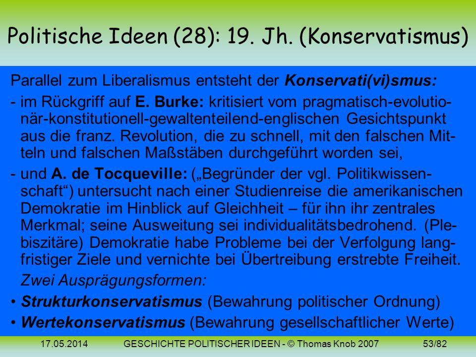 Politische Ideen (28): 19. Jh. (Konservatismus)