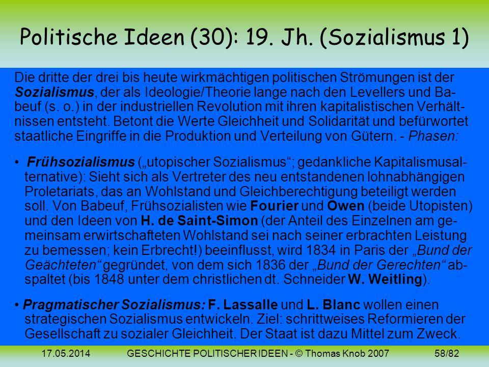 Politische Ideen (30): 19. Jh. (Sozialismus 1)