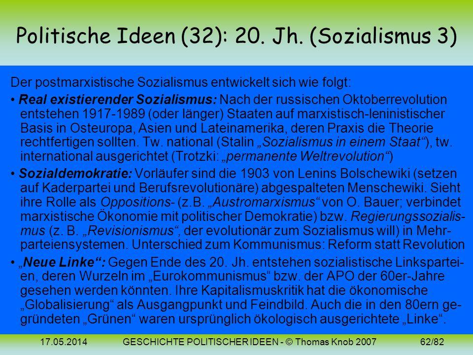 Politische Ideen (32): 20. Jh. (Sozialismus 3)