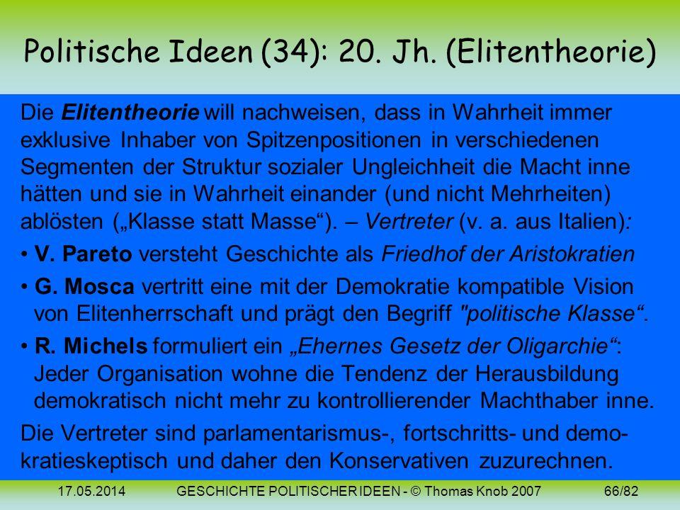 Politische Ideen (34): 20. Jh. (Elitentheorie)