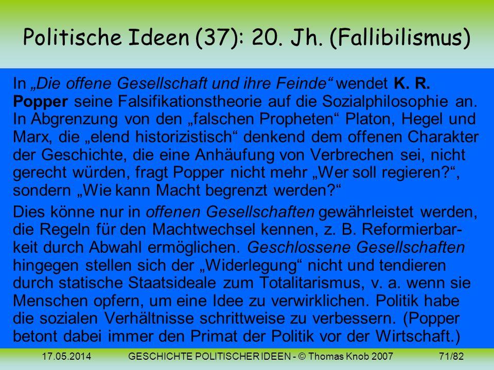Politische Ideen (37): 20. Jh. (Fallibilismus)