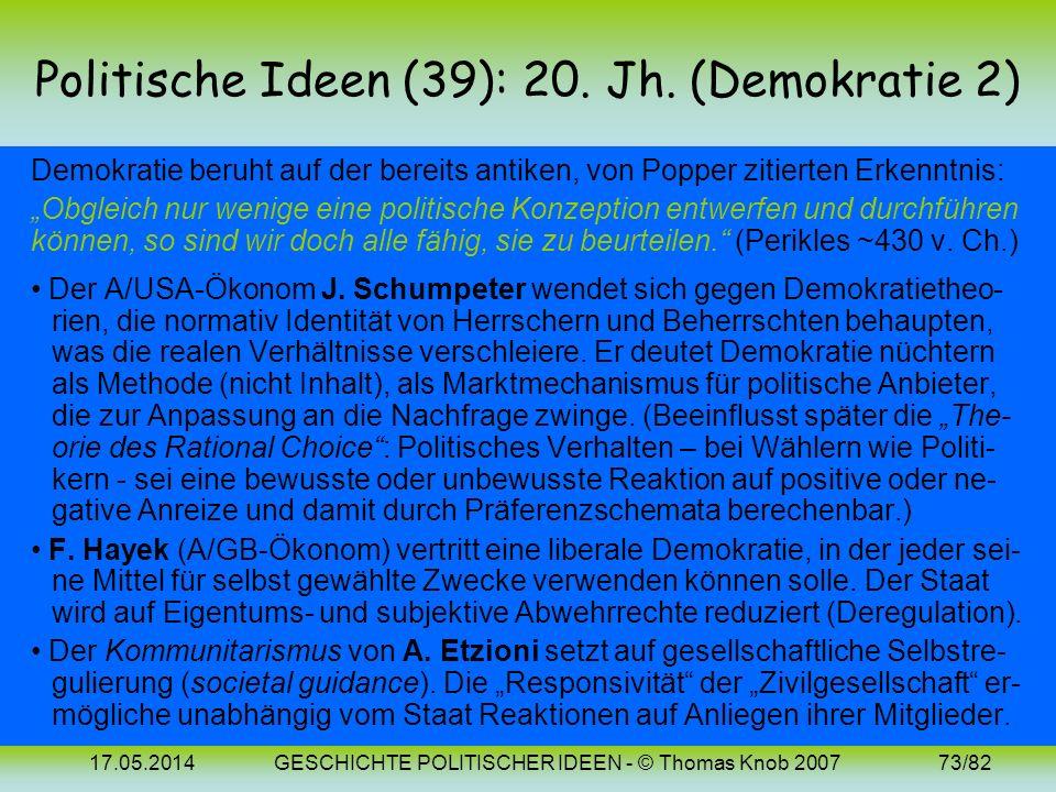 Politische Ideen (39): 20. Jh. (Demokratie 2)