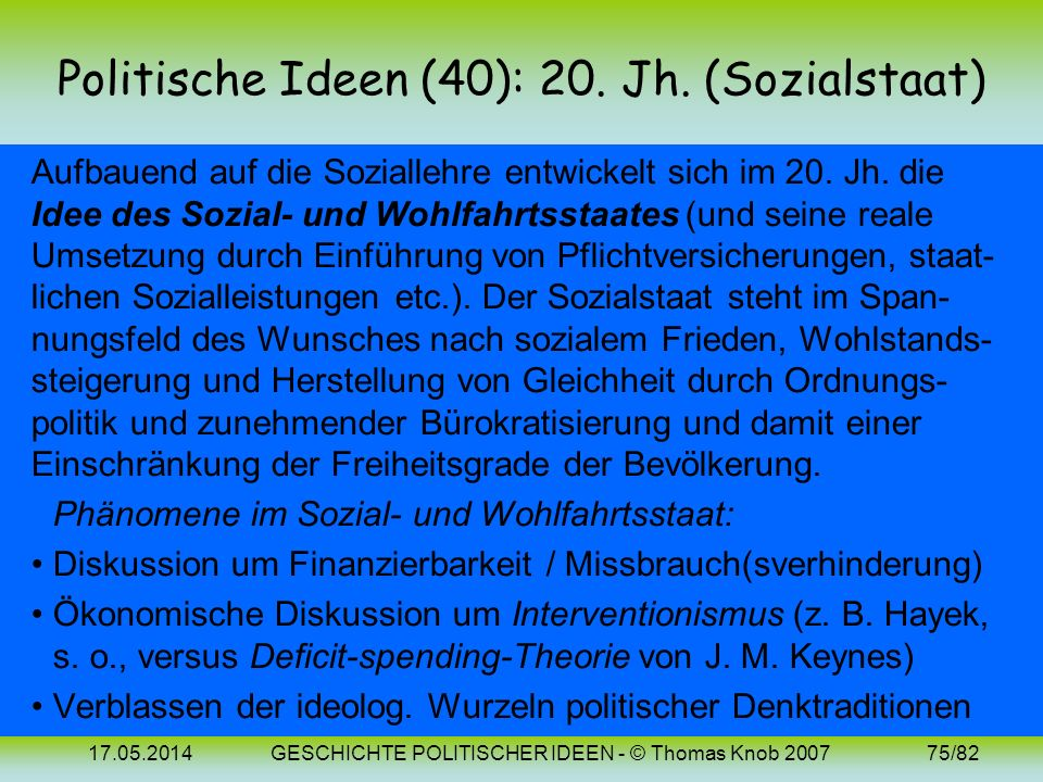 Politische Ideen (40): 20. Jh. (Sozialstaat)