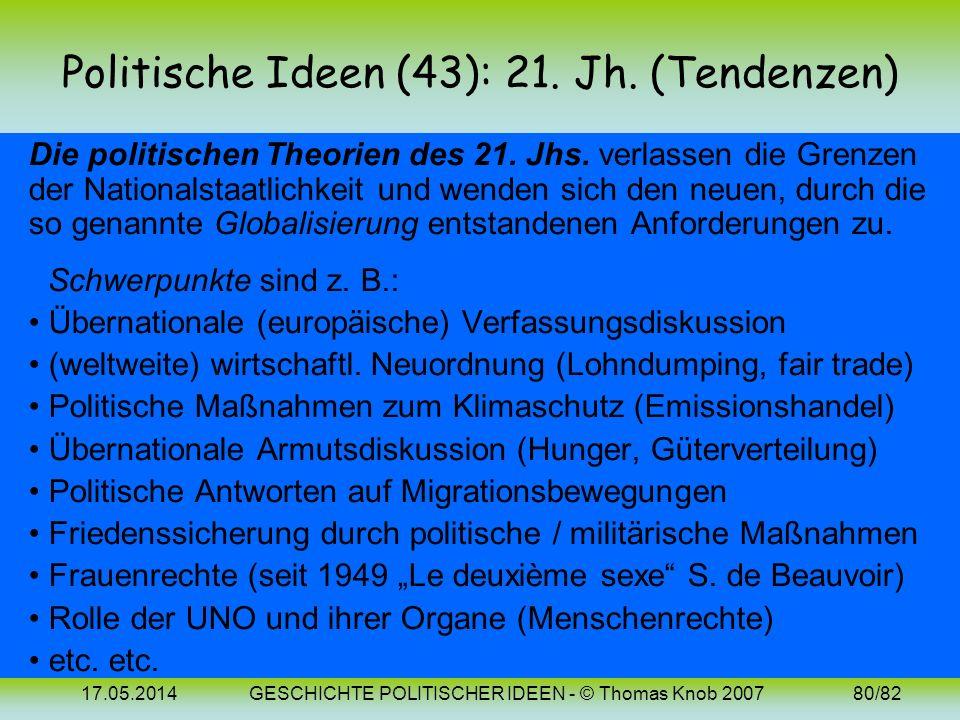 Politische Ideen (43): 21. Jh. (Tendenzen)