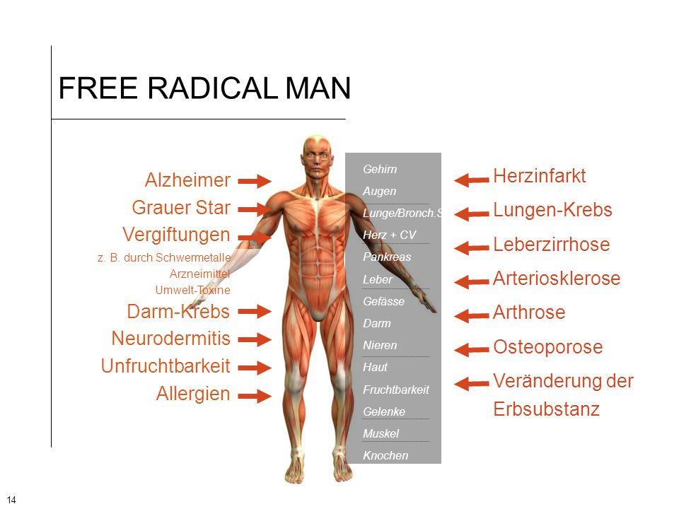 FREE RADICAL MAN Herzinfarkt Lungen-Krebs Leberzirrhose