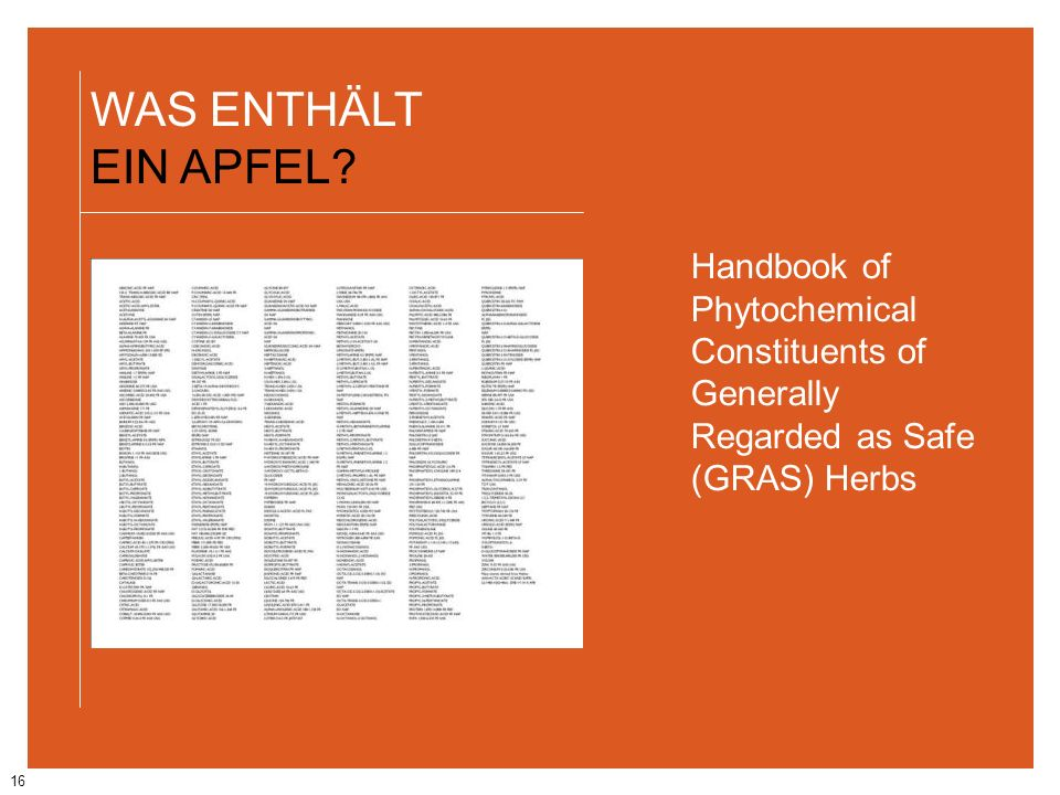 WAS ENTHÄLT EIN APFEL Handbook of Phytochemical Constituents of Generally Regarded as Safe (GRAS) Herbs.