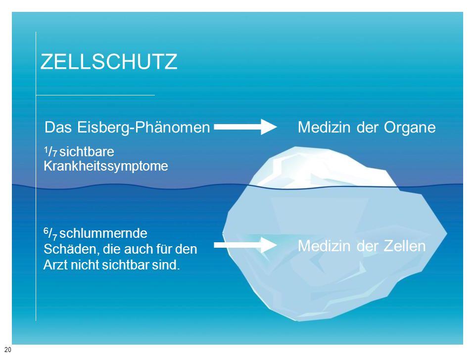 ZELLSCHUTZ Das Eisberg-Phänomen Medizin der Organe Medizin der Zellen